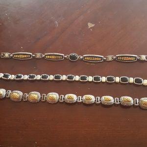 Jewelry - Vintage antique bracelets silver two tone gold